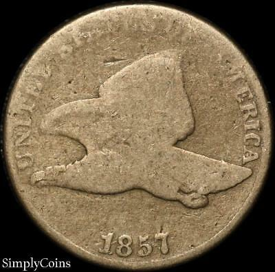 1857 Flying Eagle Penny Cent ~ AG About Good ~ SKU-667