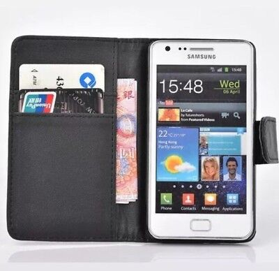 black WALLET Leather Case Phone Cover Samsung Galaxy S2 II GT-I9100