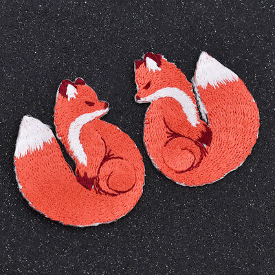 1 Pair Fox Embroidered Patch Applique Iron On Clothes Dress DIY Sewing Craft