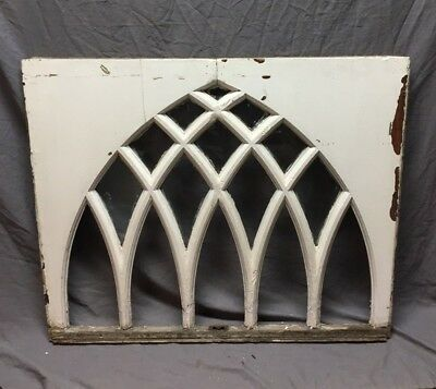 Antique Gothic Arched Window Sash White Shabby Vintage Old Chic 32X39 273-18C