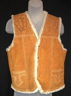 Vintage Leather Vest Faux Shearling Lining 42/44 Mexico Western Ranch