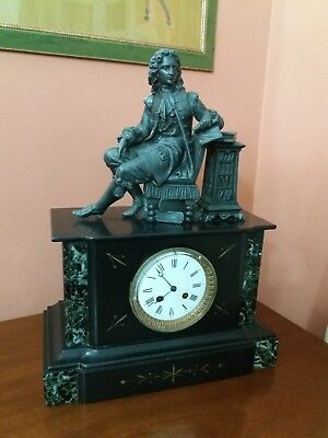 Old French Antique Voltaire Japy Freres Black Slate Marble Gilt Clock circa1875