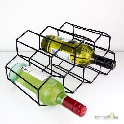 Metal Wine Rack 9 Bottle Storage Stand Bar Cellar Kitchen Organiser Display New
