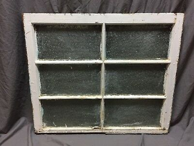 Antique 6 Lite Florentine Privacy Glass Window Sash 30X36 Old Vintage 276-18C