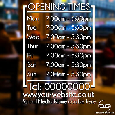 Modern Business Opening Times Hours Personalised Wall Window Vinyl Sticker Sign