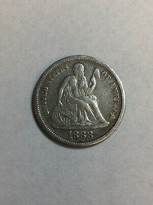1888 Seated Liberty Dime coin no reserve