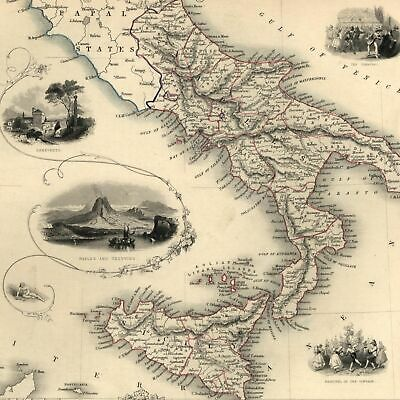 Southern Italy Sicily Sardegna c.1850 Tallis Rapkin decorative map hand colored