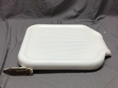 Vtg Stamped Steel White Porcelain Sink Basin Cover Drainboard Kitchen 280-18C