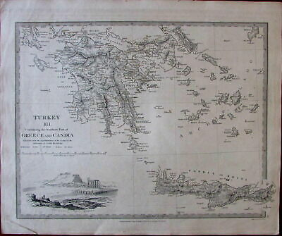 Southern Greece Candia 1829 SDUK view of Athens Acropolis old map