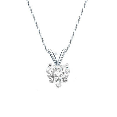 """1.25 Ct Heart Shaped Real Solid 14k White Gold Solitaire Pendant 18"""" Necklace"""