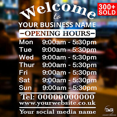 Custom Personalised Opening Times/Hours of Business Window Wall Vinyl Sign Decal