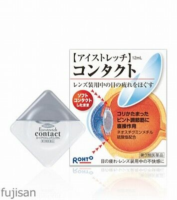 Rohto Eye Stretch Contact Eye Drops 12ml Free Shipping