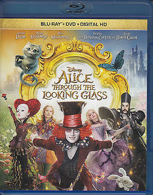 Alice Through the Looking Glass (Blu-ray/DVD, 2016, 2-Disc Set, No Digital) VG
