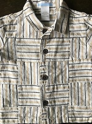 Boys shirt size 3 6 Months Janie And Jack Plaid Linen Cotton Short Sleeved Baby