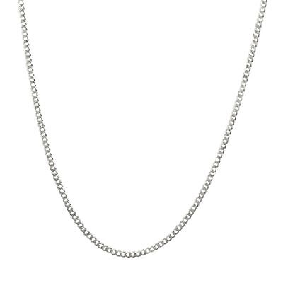 """10K Solid White Gold Mens Womens 2mm Curb Chain Cuban Link Pendant Necklace 24"""""""