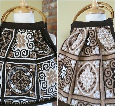 VINTAGE 1960'S 70s TAPESTRY  BAG Reversible  Round Bamboo Handle.