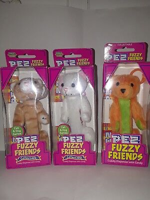 PEZ  Fuzzy Friends Lot of 3 2-cats/1-bear