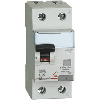BTicino GC8813AC25 BTDIN Thermal-Magnetic Differential Circuit Breaker 1P +...