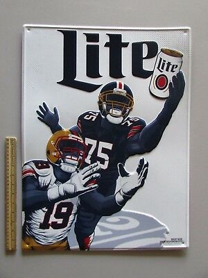 NEW Miller Lite Football NFL Player Catch A Cold One Tin Tacker Sign Beer NCAA