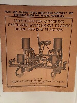 1925 Directions for Installing a Fertilizer Attachment to John Deere Planter