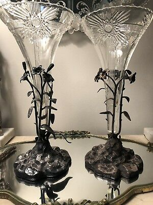 Pair Antique English Silverplate Glass Liner Vases Trumpet Henry Wilkinson Co