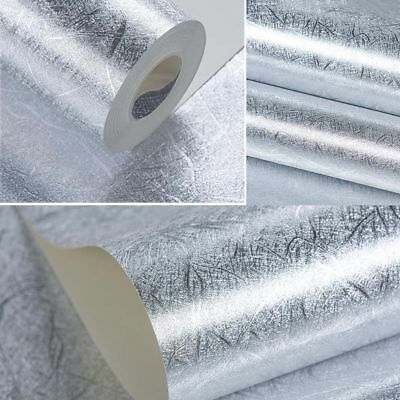 10M Wallpaper Luxury Modern Silver Gold Solid Foil Textured PVC Home Decoration
