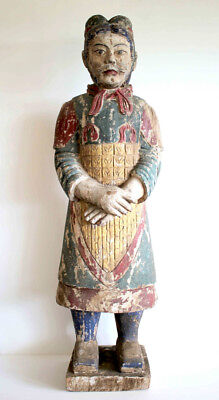 Original Chinese Warrior Statue - Vintage - Antique - Old - Carved Timber