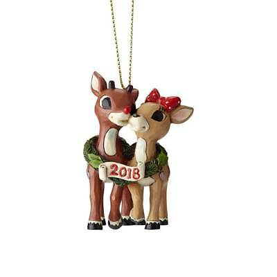 Jim Shore The Red Nosed Reindeer RUDOLPH & CLARICE DATED 2018 ORNAMENT 6001596