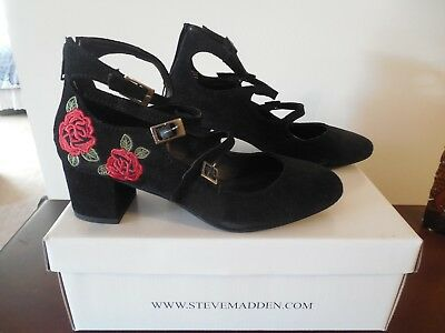 e9e8dd459e6f STEVE MADDEN New w Box Shoes Black leather suede Ankle Strap EMBROIDERED  7.5M