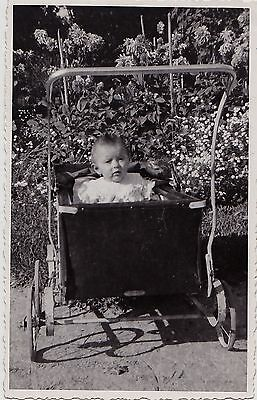 Old Antique Vintage Photograph Adorable Little Baby Sitting in Carriage