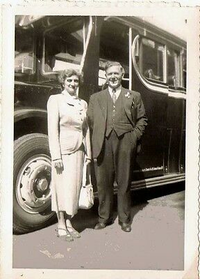 Old Antique Vintage Photograph Man and Woman in Front of an Old Time Bus