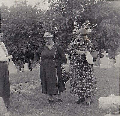 Old Vintage Antique Photograph Two Heavy Fat Chubby Women At the Cemetery