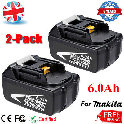 2 X New 6.0Ah 18V Lithium Ion Battery For Makita BL1860 BL1850 BL1840 LXT400 UK