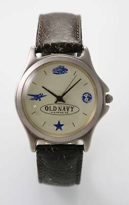 Old Navy Watch Unisex Cream Stainless Steel Silver Brown Leather Battery Quartz