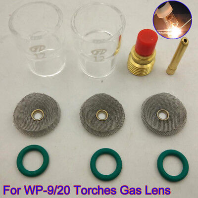 10pcs/Set TIG Torch Glass Cups #12 Pyrex Cup Collet Kit For WP-9 20 Spare Parts