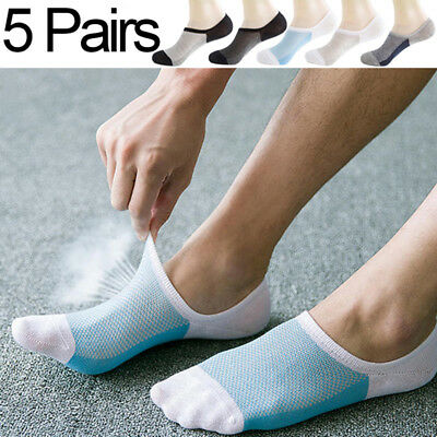 5 Pairs Mens Thin Socks Invisible Ankle Low Cut Bamboo Breathable Mesh Sock