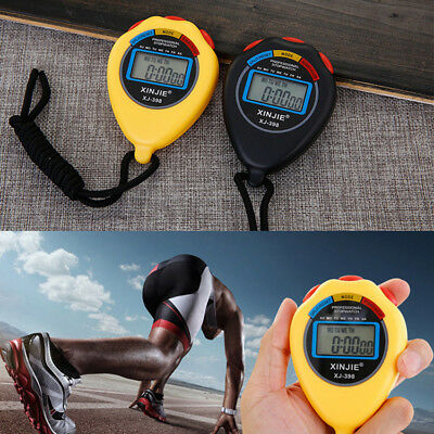 Professional Digital LCD Timer Chronograph Counter Sport Stopwatch W/ Strap Cord