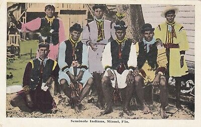 Seminole Indians, Miami, Florida, USA, old postcard, unposted
