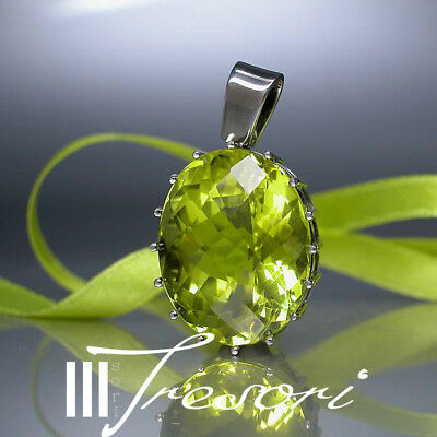 35,4ct LEMON CITRIN  ANHÄNGER 750 KARAT GOLD PENDANT WEIßGOLD GREEN TREE *1.090€