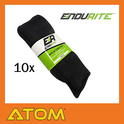 Endurite Quality 95% Bamboo Socks Extra Thick Black Work Socks - 10x Pairs