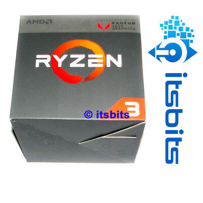 AMD RYZEN 3 2200G AM4 3.7Ghz (MAX BOOST) 4 CORE 7 RX VEGA 8 GRAPHICS + HEATSINK