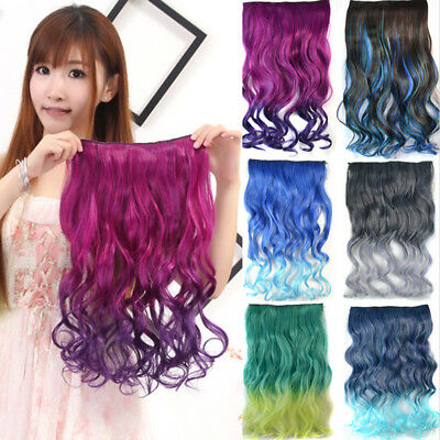 Ombre Clip In Hair Extensions Weft Weave Curly Synthetic Wavy Long Hairpieces