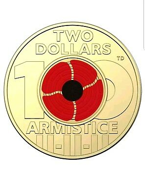 2018 REMEMBRANCE DAY ARMISTICE CENTENARY $2 COLOURED COIN  Uncirculated.Rare