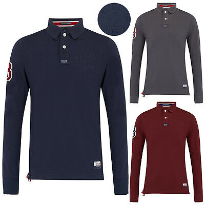 Mens Polo Shirts Stallion Embossed Cotton Long Sleeve Pique Top