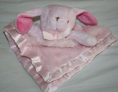 Blankets & Beyond Pink Bunny BABY SECURITY BLANKET Fluffy Brown Eyes Nose Lovey