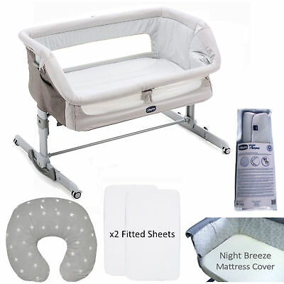 New Chicco Legend 5 Piece Next 2 Me Height Adjustable Baby Crib Bundle
