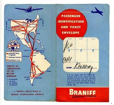 Braniff Passenger Identification & Ticket Envelope 1950s