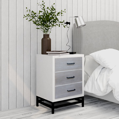Bedside Table White with 3 Drawers Nightstand Storages