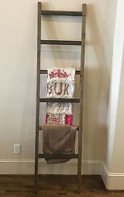 Rustic Weathered 5 Foot Wood Blanket Quilt Towel Ladder Farmhouse Urban Country