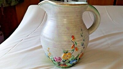 "CROWN DEVON FIELDINGS LARGE FLORAL PAINTED  JUG 8"" TALL. c.1930+"